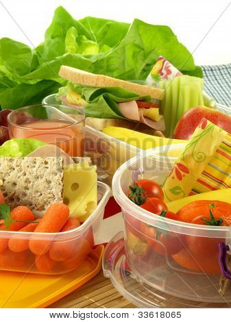 Containers With Lunch, Closeup, Isolated
