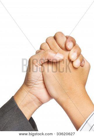 zwei Unternehmen-Hände