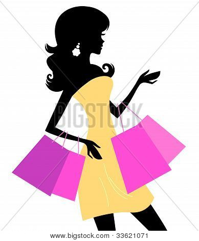 Shopping Retro Girl Isolated On White