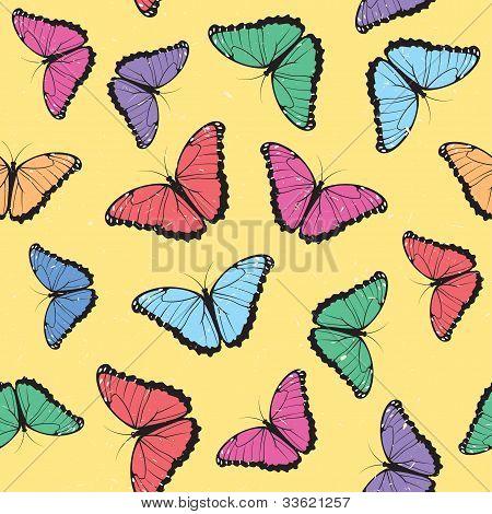 Color Butterflies Seamless Pattern