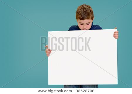 Holding Blank Sign