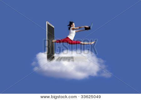Beautiful Woman Jumps With Laptop