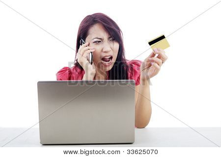Unhappy Woman Shopping Online