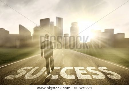 Successful Businessman Walking Outside