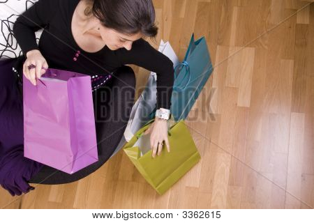 Woman Showing Her Shopping Bags