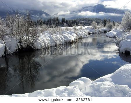 Winter Landscape With Blue Sky Reflecting In A River Near Whistler