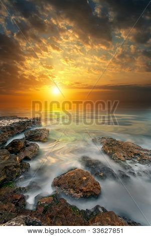 Rocks, Sea, Sunset