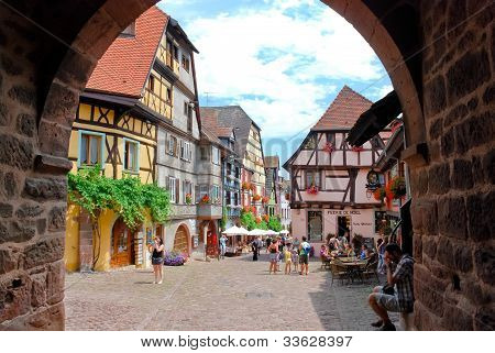 Central Square In Riquewihr Town, France