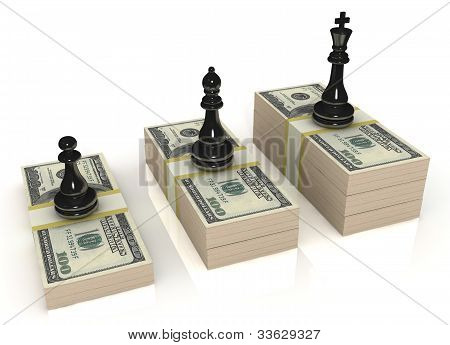 Chess figures (black king, queen and pawn) standing on US dollars, isolated on white