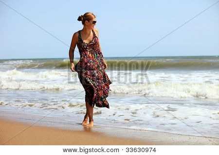 Young Caucasian woman at a beach