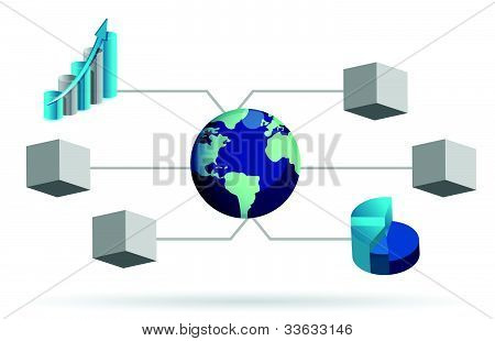 box diagram illustration design over white background