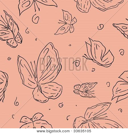 Abstract hand draw butterfly seamless pattern background