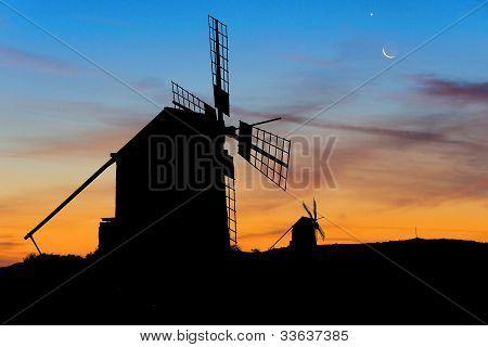 Moon And Venus Over Spanish Windmills At Dusk