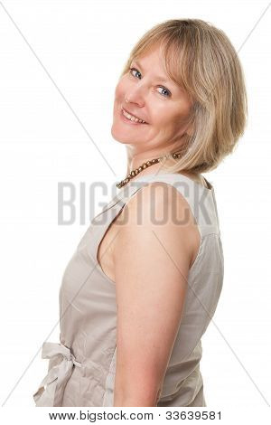 Side Portrait of Happy Smiling Attractive Mature Woman