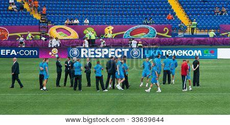 Kharkiv, Ukraine - June 9: Netherlands National Football Team Tests Pitch Before Match