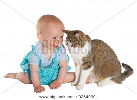 Cat And Smiling Baby