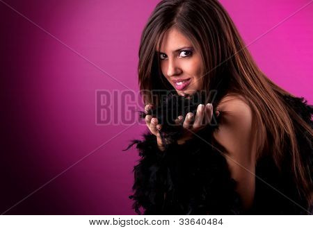 Young Woman Portrait With A Black Feather Boa