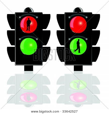 Traffic Lights For Pedestrians Vector Illustration
