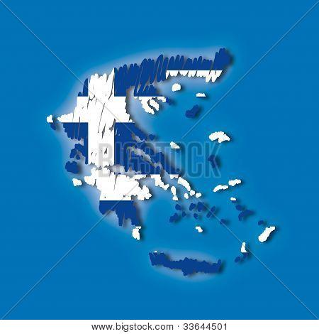 Map Flag Greece