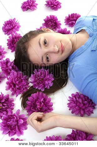 Teenager And Purple Flowers
