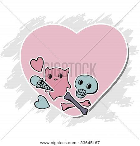 Skulls, Ice Cream and hearts on grunge background.