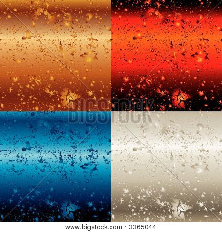 Vector Illustration Of Four Metal Backgrounds With Drops