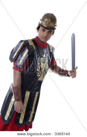 Male Model In Roman Soldier Costume