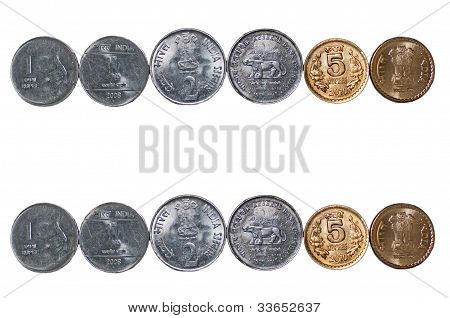 Closeup 2 Indian currency Coins rows isolated on white copy space