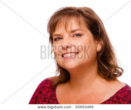 Portrait of smiling cheerful middle-aged woman isolated on white