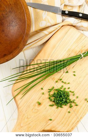 Overhead View Of Fresh Chopped Chives
