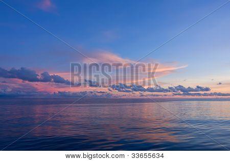Sunset On Sea At Philippines