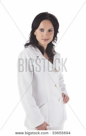Portrait Of A Businesswoman In White Suite