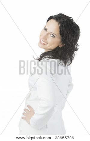 Smiling Young Woman In White Suite