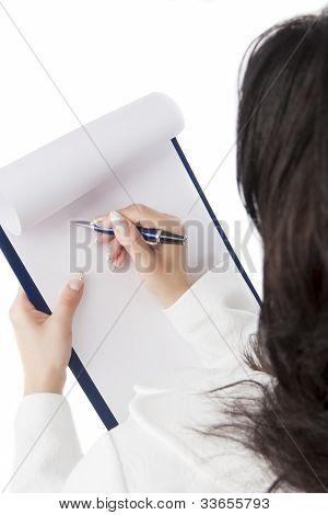 Documento de escrita de empresária