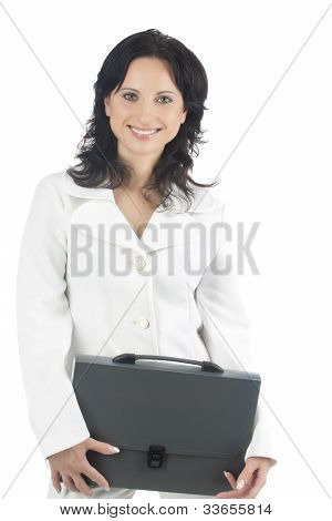 Portrait Of A Smiling Businesswoman With A Briefcase