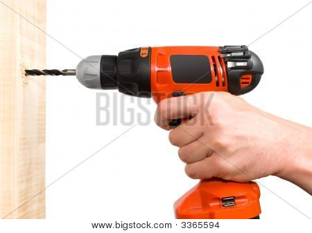 Man'S Hand Holding Drill