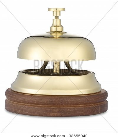 Brass Hotel Bell Low Angle On White With Clipping Path