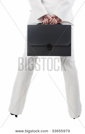 Fragment Shot Of A Businesswoman Holding Briefcase And Standing Backwards