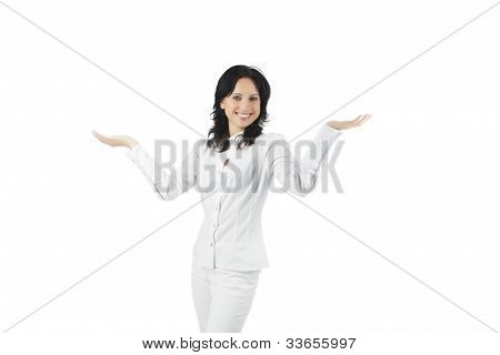 Portrait Of A Happy Woman Showing And Gesturing With A Smile