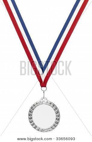 Silver Sports Medal Blank With Clipping Path And Copyspace