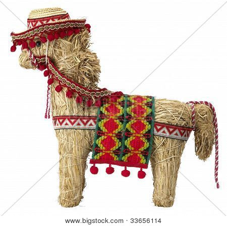 Straw  Spanish Donkey With Clipping Path Isolated On White