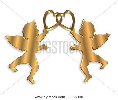 Golden Cupids Valentine Illustration 3D