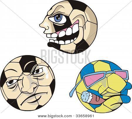 Bolas de futebol engraçado