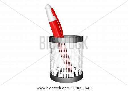 Red Pen With Basket