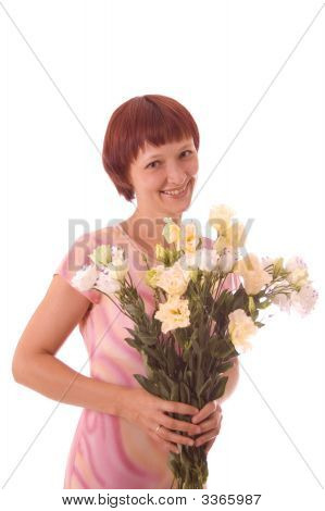 Red-Haired Girl With Flowers