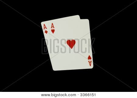 Casino Poker Playing Cards, Pair Of Aces