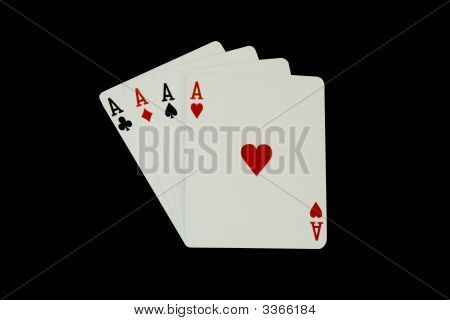 Casino Poker Playing Cards, Four Aces