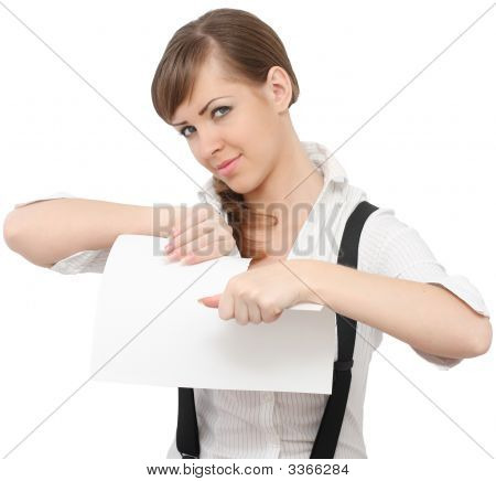 Young Beautiful Woman Ripping Paper