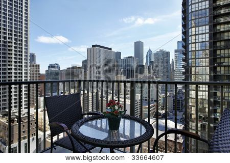 View of downtown from a condo balcony