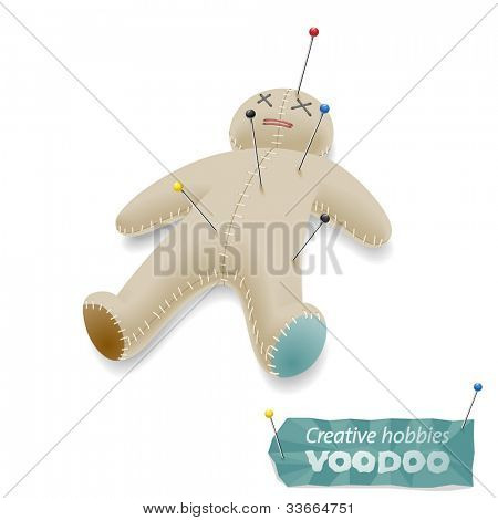 Voodoo doll with pins, eps8 vector